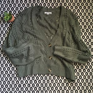 American Eagle Olive Cropped Open Knit Cardigan M